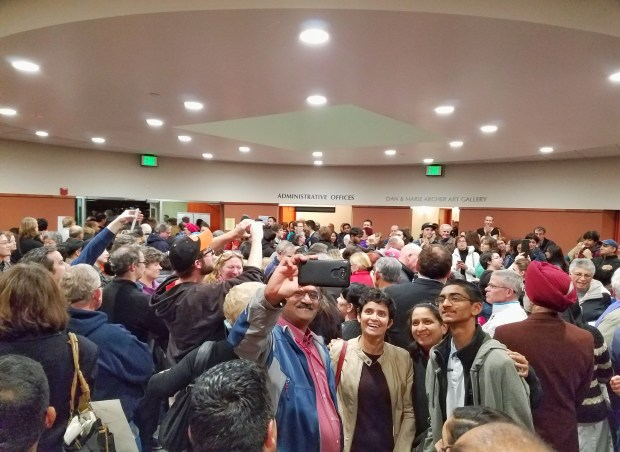 Attendees at U.S. Rep. Ro Khanna's first town hall as an elected official gather in a secondary overflow space at Ohlone College in Fremont on Wednesday, Feb. 22, 2017.