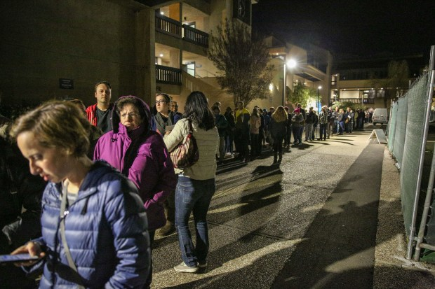 A long line of attendees formed outside of an auditorium at Ohlone College in Fremont at U.S. Rep. Ro Khanna's first town hall as an elected official on Feb. 22, 2017. They were eventually moved to an overflow space.