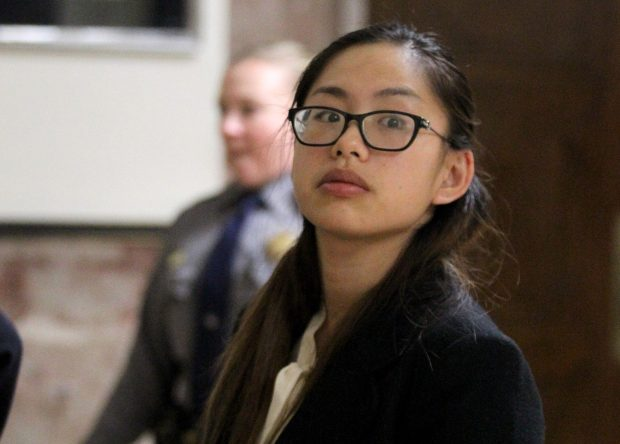 Mellisa Ho waits for an elevator during a break in her vehicular manslaughter trial at the Rene C. Davidson Courthouse in Oakland, Calif., on Feb. 1, 2017. Ho is accused of striking and killing William Sampson on the shoulder of Interstate 880, in Fremont, on Aug. 16, 2014. (Anda Chu/Bay Area News Group)