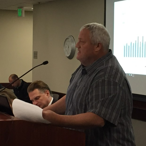 Retired Contra Costa hazardous materials worker Scott Hanson defends his pension before the board of the Contra Costa County Employees' Retirement Association on May 4, 2016. (Daniel Borenstein/Bay Area News Group)