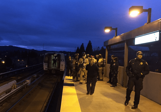 About 400 passengers were evacuated from Walnut Creek BART after an electrical fire Saturday evening. (Contra Costa Fire Department)