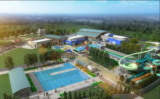 An aerial rendering of what the Wave water park will look like when it opens May 27 in Dublin.