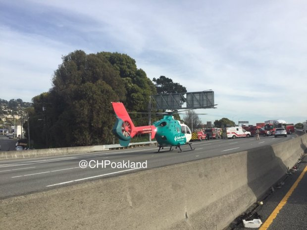 A shooting victim was flown to the hospital by air ambulance Thursday afternoon after a shooting was reported on Interstate 80 in Richmond, according to the California Highway Patrol. (California Highway Patrol)