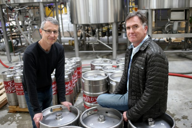 Rob Lightner, left, and Chris Coomber, owners of East Brother Beer Co. pose for a photograph in Richmond, Calif., on Friday, March 3, 2017. (Anda Chu/Bay Area News Group)