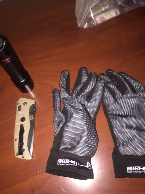Benicia police shared this image of gloves and a flashlight recovered after a San Ramon man's arrest Sunday, March 19, 2017