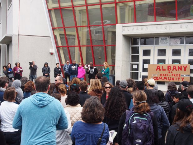 credit: Chris TreadwayMore than 300 people attended the Albany for All rally on March 26 at Albany High School to support unity and inclusiveness in response to racist and offensive posted on social media.