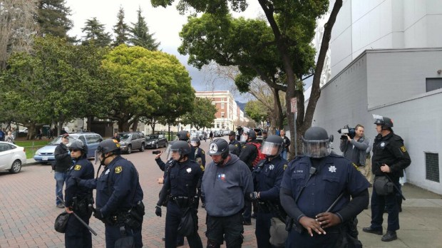 Police arrested a pro-Trump protester Saturday afternoon after several melees broke out. (Aaron Davis/Bay Area News Group)