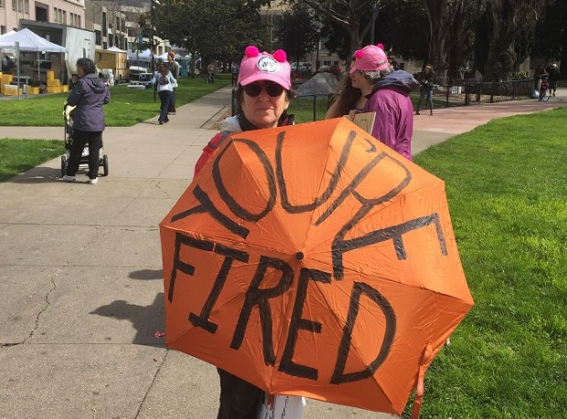 Ellie Hoffman, an Oakland resident, came to downtown Berkeley as part of a counter-protest to a planned pro-Trump rally. (Aaron Davis/Bay Area News Group)