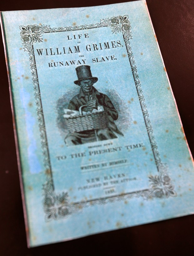 "A reproduction of the cover of a book by William Grimes tracking down the story of one of her ancestors, William Grimes, who was a fugitive slave that traveled along the Underground Railroad to freedom and authored the first fugitive slave narrative in U.S. history. A film about her search ""Gina's Journey, the search for William Grimes"" will be shown at the Oakland Film Festival Thursday, April 6, 2017. (Aric Crabb/Bay Area News Group)"