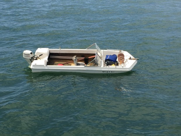 A white fiberglass skiff was found after an Oakland man was reported missing Wednesday off Muir Beach. (U.S. Coast Guard)