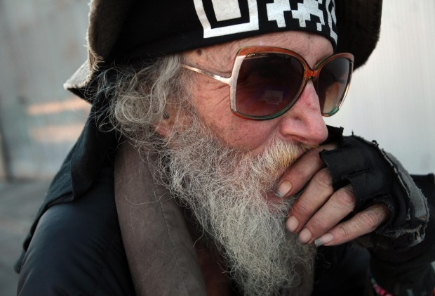"Mark ""Hate Man"" Hawthorne, 75, of Berkeley, was photographed on Tuesday, Nov. 8, 2011 in Berkeley, Calif. (Jane Tyska/Staff)"