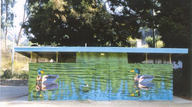 Artist Dan Fontes is offering to repaint his mural on the Montclair Park restroom, which was recently renovated. This is a photograph of the old mural, which was painted over by the city years ago after it was tagged with graffiti. (Courtesy of Dan Fontes)