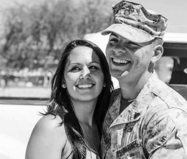 courtesy of Samantha Masters GoddardSamantha Masters Goddard and Justin Goddard appear together during Justin Goddard's time in the U.S. Marine Corps.