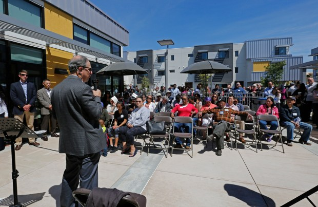 Dan Sawislak from Resources for Community Development (RCD) speaks at the end of the grand opening festivities at the Stargell Commons affordable housing complex in Alameda on May 17, 2017. All 32 units of family housing are affordable to families who earn 30-60 percent of the Area Median Income . (Laura A. Oda/Staff archives)