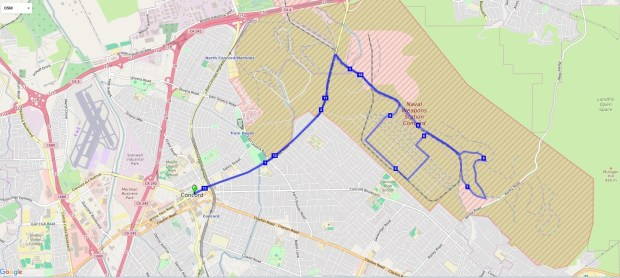 "Map of the Armed Forces Half-Marathon course. The May 27 race begins in downtown Concord and loops around ""Bunker City"" on the Concord Naval Weapons Station property."
