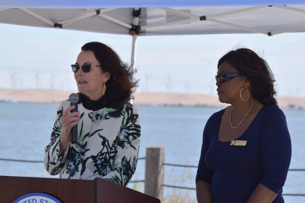Alexis Strauss, acting regional administrator of the US Environmental Protection Agency, and Pittsburg Mayor Merl Craft during a Wednesday press conference at the Pittsburg Marina.