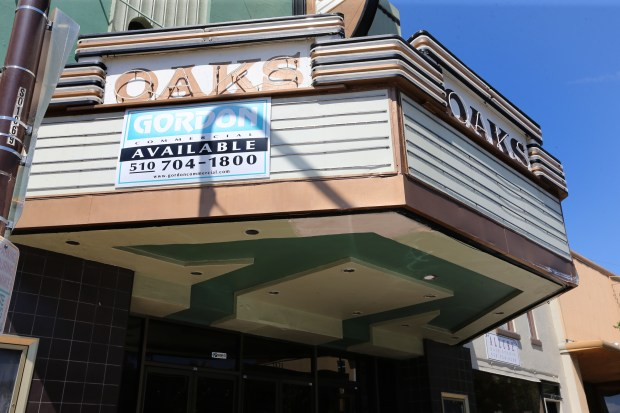 Exterior view of the Oaks Theatre on Solano Avenue in Berkeley, Calif., on Saturday, May 13, 2017. The theatre is for sale. (Ray Chavez/Bay Area News Group)