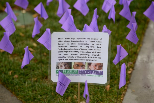 To raise awareness about World Elder Abuse Awareness Day on June 15, 4,000 purple flags were added to Todos Santos Plaza in Concord, Calif., on Thursday, June 8, 2017. (Susan Tripp Pollard/Bay Area News Group)