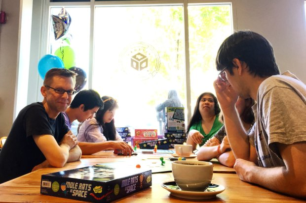 """Rachel Sunday/Peaceable Kingdom""""Mole Rats in Space,"""" a new board game by noted designer Matt Leacock, debuted at a release event June 17 at the Victory Point Cafe in Berkeley."""