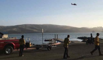 Crews search for a missing boater on Tomales Bay on Tuesday afternoon. He was identified as Charles Friend, a 70-year-old oyster farmer. (Marin County Fire Department photo via Twitter)