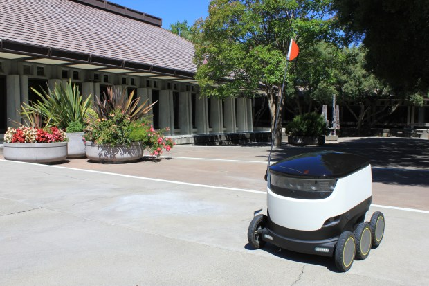 An autonomous delivery robot from Starship Technologies is photographed at the Concord Civic Center. As part of a 12-month pilot program, the robots will deliver groceries, parcels and take-out in downtown Concord.