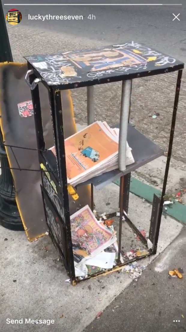 An Instagram post from the restaurant shows the box clearly demolished, butseveral newspapers inside appear undamaged.