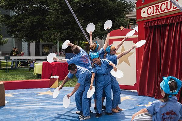Circus Bella performers, clockwise from top, Natasha Kaluza, Abigail Munn, Orlene Gentile, Calvin Kai Ku and Joel Baker perform recently in San Francisco.