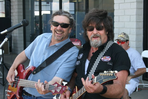 Bill Bentley and Ron Pestana perform with Ron Pestana and the Pit Crew in 2009 in Placerville for the Placerville Speedway sprint car promotion. (Photo by Bill Sullivan)