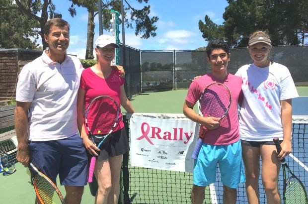 Mike Bauer, Olga Bulycheva, Chris Aria and Megan Heneghan pose before last year's exhibition match at the Rally for the Cure event at Harbor Bay Club. (Courtesy of Abe Millado/Harbor Bay Club/Rally for the Cure)