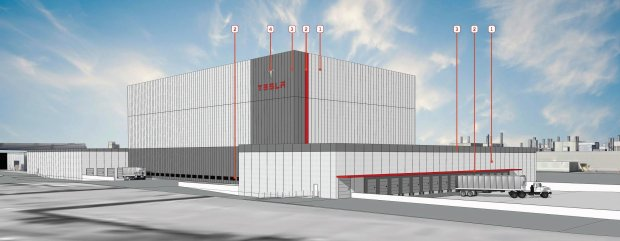 When complete, a new automated storage and retrieval facility rising fromthe north end of the Fremont Tesla factory will look like this rendering provided by the company. A similar facility will be built on the south end of the factory site as the company expands its footprint in Fremont. (Photo courtesy city of Fremont)