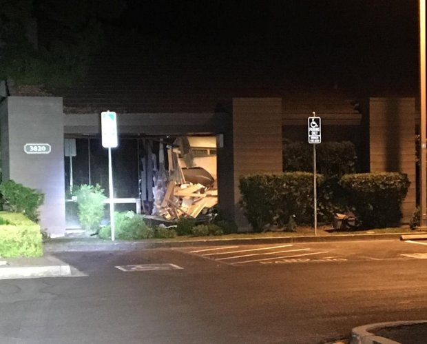 Blackhawk police shared this image Thursday, August 31, 2017 of the damage left behind after a Land Rover struck a Blackhawk office building earlier this month.