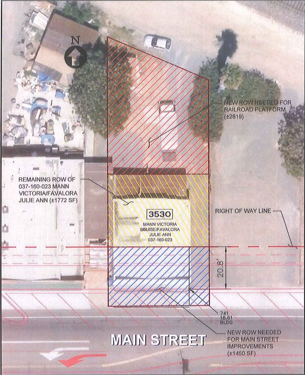 A city map designating the portions of the property at 3530 Main Street that were seized by eminent domain to make way for the city's Main Street improvements and train station project. (Photo credit: The City of Oakley.)