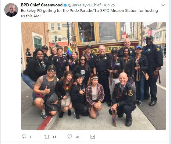 Berkeley Police Department staff members pose at SF Pride 2017 in this photo tweeted by BPD Chief Greenwood on June 25, 2017