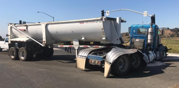 Crews responded to a possible fuel spill just after 8 a.m. Tuesday to an intersection in Newark, at Thornton Avenue and Gateway Boulevard, because of a truck crash. (Newark Police Department)