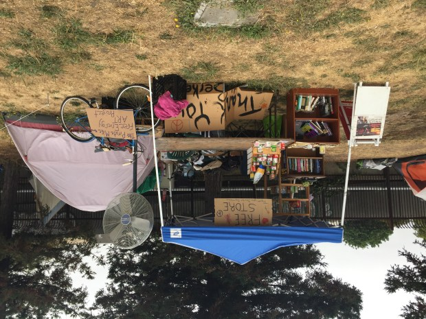 The Free Store at a tent camp near the BART tracks in South Berkeley is seen on Aug. 8, 2017 (Tom Lochner)