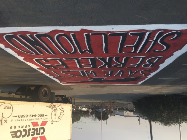 "A pavement painting with the words ""Save West Berkeley Shellmound"" is seen at 1900 Fourth St. on Oct. 9, 2017. (Tom Lochner)"
