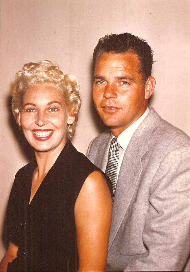 "Marjorie ""Marti"" Liebhart is shown with her husband, Alameda Fire Department firefighter Jack ""Jake"" Liebhart, in a 1957 photograph. Jake died of cancer at the age of 62 in 1986 and Marti died at the age of 97 on Aug. 12. (Courtesy of Janis Liebhart)"