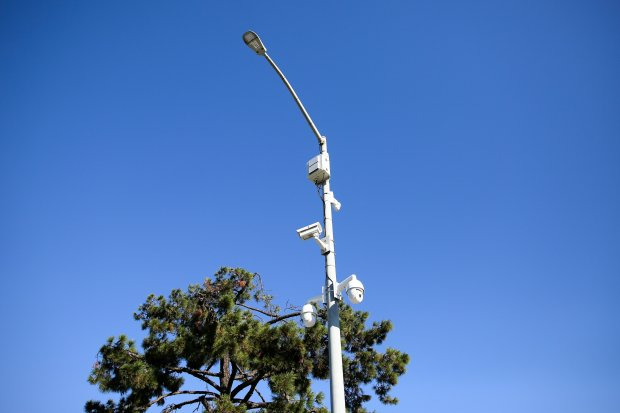 Surveillance cameras are seen mounted on a light pole on Farwell Place onSunday, Oct. 22, 2017. Police said department-operated cameras like these are sometimes installed in hot spots for criminal activity. These are mounted near a hotel where a shooting Saturday night left one man dead. (Joseph Geha/Bay Area News Group)