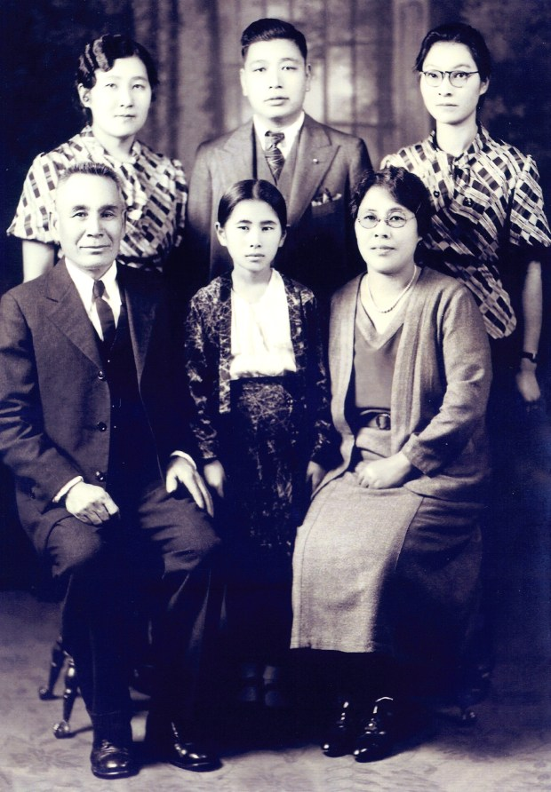 The Ito family, living in Courtland along the Sacramento River, posed for this family photo in 1933. In back row, from left, are Nancy Ito Takahashi; Harry Takahashi (Nancy's husband); and Lillian Ito. In the front row, from left, are: father Yetsusaburo Ito; Hedy Ito, 11; and wife Toku Ito. (Courtesy of Antonia Grace Glenn)