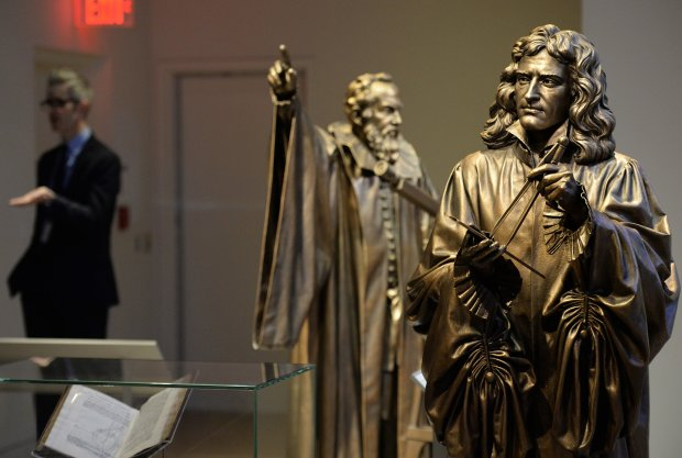 Statues depict Galileo and Isaac Newton in one of the exhibitions at thenew museum. MUST CREDIT: Photo for The Washington Post by Essdras M Suarez