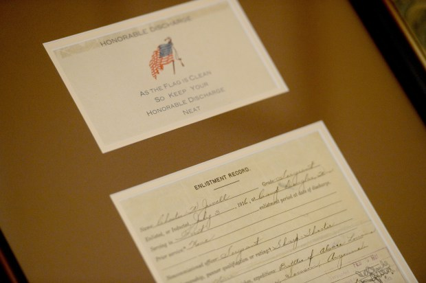 Concord Vet Center Director Jeffrey Jewell has his grandfather's military documents framed in his office at the Concord Vet Center in Concord, Calif., on Thursday, Nov. 9, 2017. Contra Costa County is hosting a free event on Nov. 13 aimed at the county's 54,000 veterans to record and store their very important DD-214 discharge and other important military documents in a safe place. (Dan Honda/Bay Area News Group)
