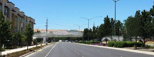 The proposed bridge carrying the Iron Horse Regional Trail over Dublin Boulevard would look like this, looking west on Dublin Boulevard.