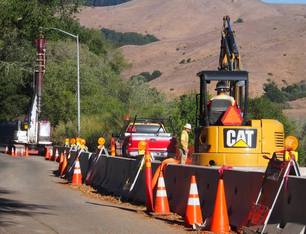 CHRIS TREADWAYWork on repairing the Rifle Range Road entrance to Wildcat Canyon is expected t take about a year to complete.
