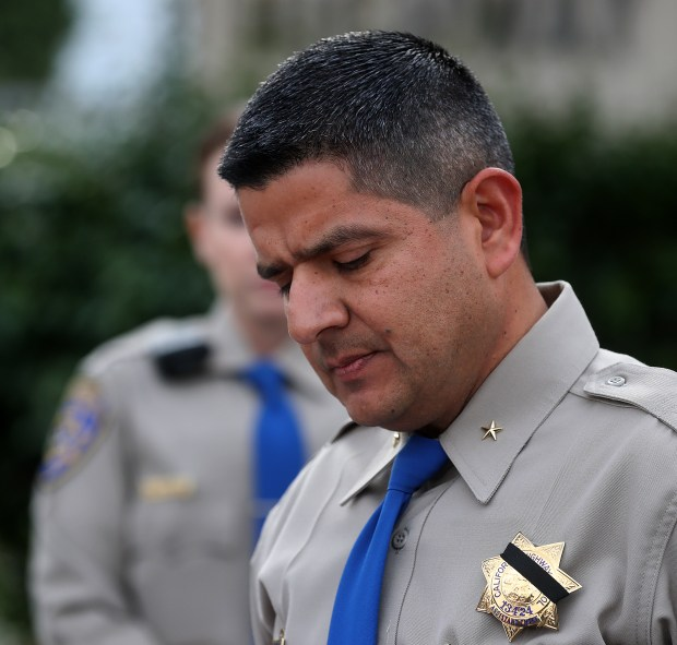 California Highway Patrol Golden Gate Division Assistant Chief Ernie Sanchez speaks at a press conference regarding a crash that killed a CHP officer Christmas morning on Dec. 25, 2017, in Hayward, Calif. (Aric Crabb/Bay Area News Group)