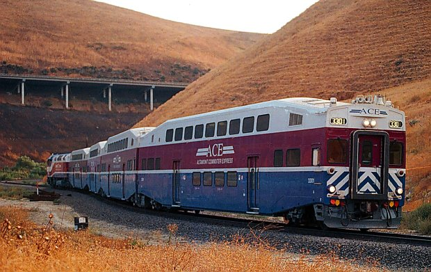 Altamont Corridor Express travels thru the Altamont Hills. If area officials get their wish, this service would connect with BART not far west of this location.
