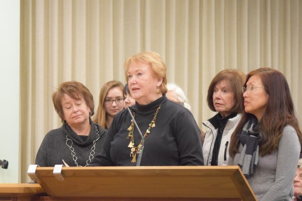 Therese Welter and other members of St. Timothy's Episcopal Church in Walnut Creek speak Tuesday night in support of Trinity Center's temporary move to a former fast-food restaurant building.