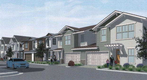 A rendering shows what some of the homes planned for a new developmentalong Blacow Road in Fremont called The Cottages could look like when complete. The project, being proposed by San Ramon-based MLC Holdings, Inc. would be comprised of seven two-story single family homes, and 30 two-story duet-style homes. (Image courtesy city of Fremont)