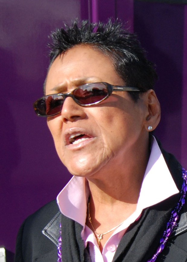 FILE PHOTO--Elaine Brown tries to gain support for the SEIU United Healthcare Workers West outside Alta Bates Summit Medical Center in Oakland, Calif., Wednesday Jan. 12, 2011. (Hillary Jones-Mixon/Staff)