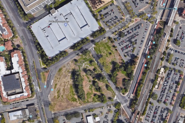 An aerial view of a 3-acre vacant property near the downtown Concord BART station where developer Mark Hall has proposed building a professional soccer stadium for his United Soccer League East Bay franchise.