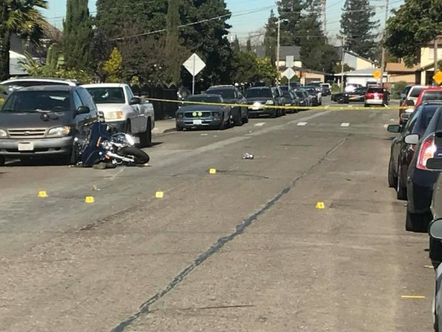 Alameda County Sheriff's deputies released this image of a downed sheriff's deputy motorcycle Feb. 1, 2018 on Arbor Avenue in Hayward.